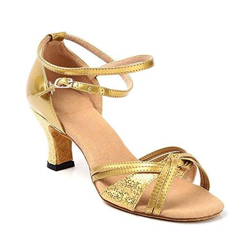 Minetom Mujer Moda Sandalias Elegante Latín Tango Baile Zapatos Verano Medianos Talón Sandalias Dorado 38