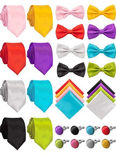 SATINIOR 8 Sets Corbatas de Seda Corbata de Bolsillo Pañuelo Cuadrado Gemelos con Pajarita