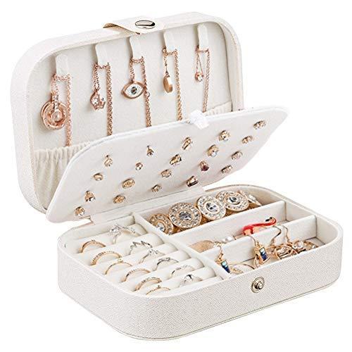 Centtechi Schmuckkästchen für Ringe, Ohrringe, Halsketten, Armbänder, Schmuck, Geschenk-Box für Mädchen, Frauen (weiß) (Ring Armband Und Geschenk-box)