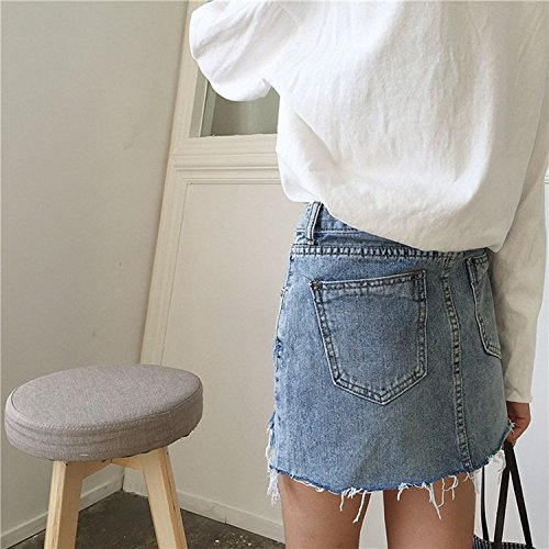 Minetom Femmes Été Élégante Jupe Haute Taille Boutonnée Denim Mini Longueur Du Genou A-Line Court Jupe Crayon Jeans Bleu