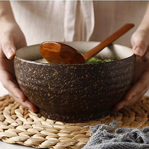 GLP Assiettes à salade Bol de céréales Bol de soupe aux nouilles Bol de dîner en céramique de style japonais Grand bol en grès fabriqué à la main pour fruits aux nouilles Ramen (Color : Brown)