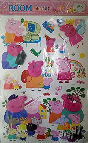 Hot 2016. Peppa Pig Cartoon multicouche Movie Parc d'attraction DIY Papier peint design Stickers muraux pour enfants Chambre Maison un cochon mignon sticker mural