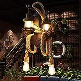 Lampada a sospensione in corda di canapa industriale retrò Altezza regolabile Lampadario in metallo vintage per E27 Lampadina in legno per soppalco Tavolo da pranzo Soggiorno Bar Caffè