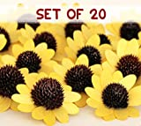#7: TiedRibbons Set Of 20 Wood Sunflower Handmade Artificial Flower For Home Decor
