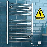iBathUK | 800 x 600 Electric Chrome Heated Towel Rail Bathroom Radiator - All Sizes