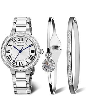 MAMONA Damen Uhren Armbanduhr Geschenk Set Kristall Akzente Keramik / Edelstahl Weiß L68008SRGT