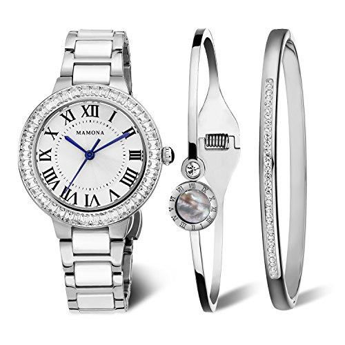MAMONA Damen Uhr analog Japanisches Quarzwerk mit Edelstahl und Weiße Keramik Armband Set...