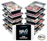 [10 pack] Igluu Premium 2 Compartment BPA-Free Meal Prep Containers | Plastic Food Storage Containers with Airtight Lids | Microwavable, Freezer and Dishwasher Safe | Reusable and Stackable Bento Lunch Boxes | Bonus e-guide