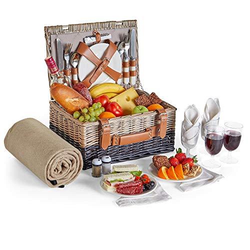 VonShef Picknickkorb für 4 Personen | Enthält Besteck, Teller, Weingläser, wasserdichte Decke, Servietten, Salz- & Pfefferstreuer, Flaschenöffner | Ideal für Strandausflüge & Camping