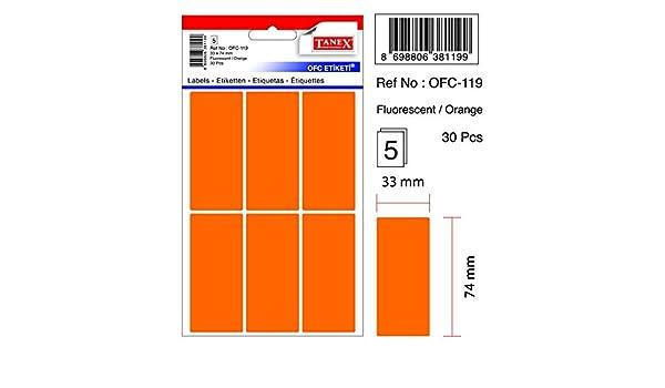 neon rot TANEX OFC-119 Vielzweck Etiketten farbig 30 Etiketten 33 x 74 mm