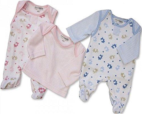"Baby Strampler""elephants"" Gr.50 in rosa und hellblau im Doppelpack/Zwillingsset Zwillinge Pärchen Strampler Baby Newborn Geburt Taufe"
