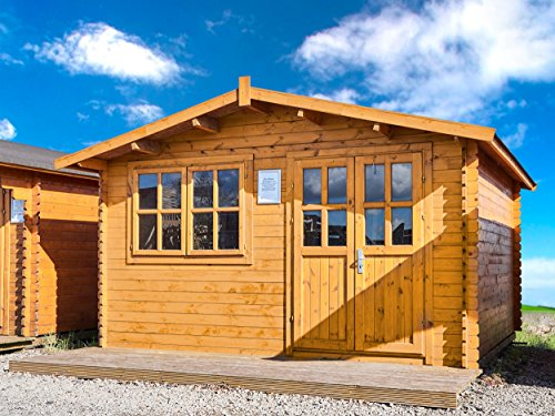 """Gartenhaus """"Norwegen"""" 28mm 400x400 cm 4x4 m Gerätehaus Holzhaus Blockhaus inkl. Fußboden"""