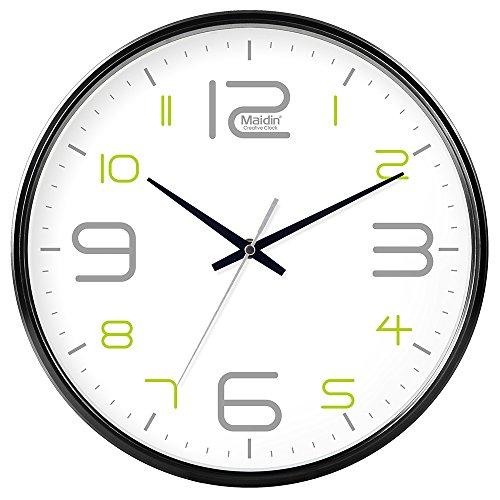 DIDADI Wall Clock Schautafel Schlafzimmer Wohnzimmer Hörraum Wanduhr Herr Ding hinter dem Kalender Uhr - Ching-stein Batterie Uhren runden-Jong-Mann, 14-Zoll, die normale Version 543 Schwarz
