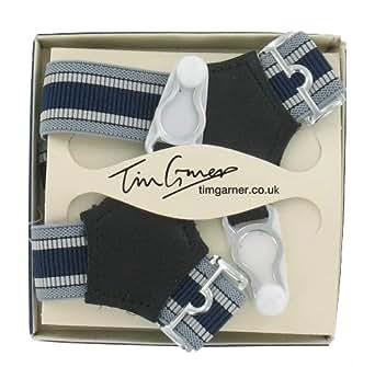 Men's Luxury Sock Suspenders (SKS30)- Navy and Grey Stripe