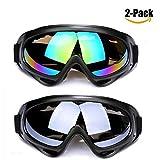 Skibrille mit UV-Schutz, Schneebrille mit Wind- und Staubschutz für Kinder, Jungen & Mädchen, Männer & Frauen, geeignete Blendschutzgläser zum Reiten, Motorradfahren, Rodeln, Schneeballschlachten (2er (Mehrfarbig/Grau)