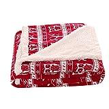 Unimall Kuschelige Lammfelloptik Wohndecke Kuscheldecke mit Weihnachten Motiv Tagesdecke geeignet für Winter 150 x 200 cm (Rot, Eulen-Muster)