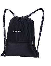 Vía Wang impermeable cordón bolsa con Pad, ligero de poliéster mochila con una Matte, portátil mochila para viajar, escalada con cojín, plegable Bolsa de almacenamiento para fitness habitación con alfombra, color negro, tamaño small