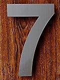 QT Número de casa moderna - 15 Centímetros - Acero inoxidable (Número 7 Siete), Apariencia flotante, Fácil de instalar y hecho de acero inoxidable 304
