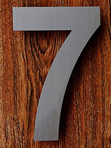 QT Modern House Number - 15.2 Centimeter - Brushed Stainless Steel (Number 7 Seven), Floating Appearance, Easy to install and made of solid