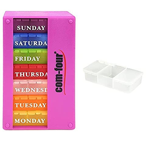 COM FOUR® medicator 7 days Pill Box Organizer 1 week Morning Noon Evening - free: pill box with 3 compartments to go PURPLE