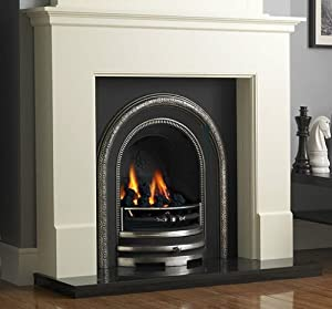 Traditional Gas Fireplace Suite: White Surround Cast Iron Back Panel Arch Gas Fire Black Granite Hearth - UK Mainland Only