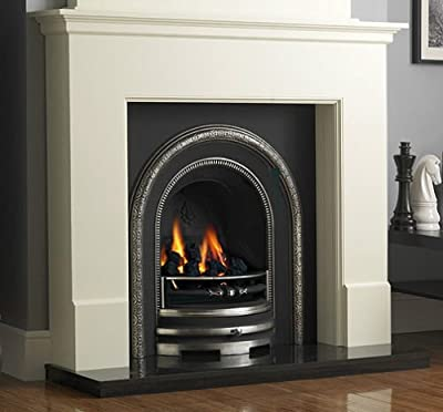 Traditional Gas Fireplace Suite: White Surround Cast Iron Back Panel Arch Gas Fire Black Granite Hearth Large - UK Mainland Only