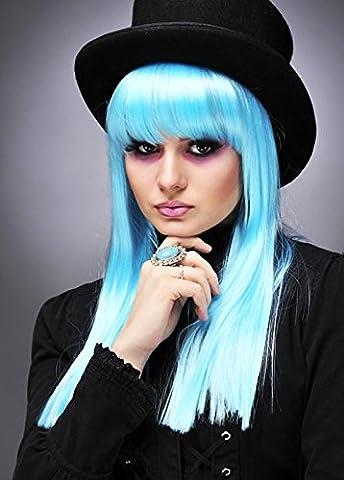Womens 80er Jahre Deluxe Punk Aqua blau Perücke