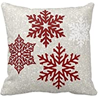 Christmas Sparkling Red Snowflakes Pillow Case by p[afdkeifd