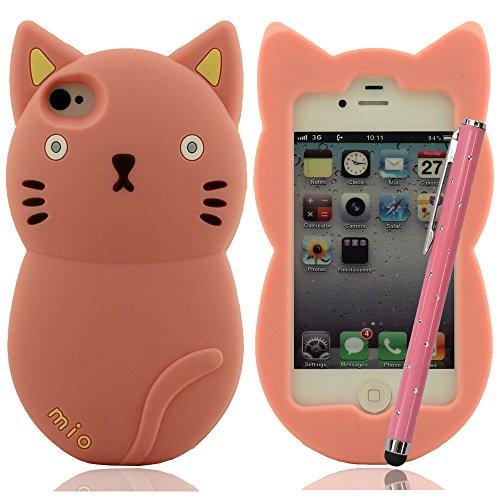 Mio Mio süß Katze - Hülle Case für iPhone 4 4S 4G Silikon Hülle gel case Schutz- tasche schutzhülle + Bling Stylus Pen Pink