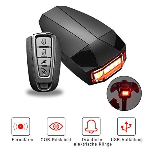 OUTERDO 3 in 1 Fahrrad Wireless Rücklicht Diebstahlschutz mit Fernbedienung Alarmschloss Smart Bell COB-Endstück-Licht USB Lade -StVZO