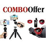 CEUTA, Combo Offer | Mini Tripod YT-228 + Universal 3 In 1 Clip-On Mobile Phone Camera Lens Kit | Tripod With 360 Degree Rotating Ball Head | Mobile Clip Suitable With All Android Or Iphone Devices | Fish Eye Lens , Macro Lens & Wide Angle Lens.