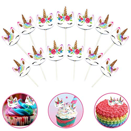 Mcree 24er Pack Rainbow Einhorn Cupcake Topper Plektrum Plektron Picks, Doppelseitig Einhorn Horn und Rainbow Picks für Geburtstag Baby Dusche Party Dekorationen Supplies - Pack Plektren