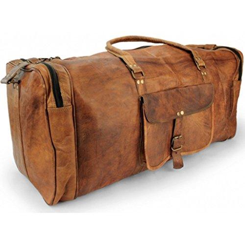 A.P. Donovan - Borsa da viaggio in pelle uomini 65cm marrone tela - borsa sportiva Weekender pelle - Palestra epoca