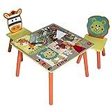 E-starain Infantil de Mesa y Asientos para Niños Juego de Muebles para Niños, 1 Mesa Infantil con 2 Sillas Conjunto Escritorio y Sillas de Jardín LRGOI0004