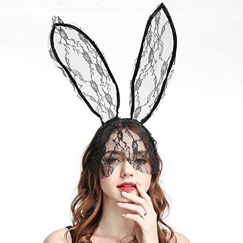 2018Halloween Party Ball Kleid Lady Gaga Spitze Kaninchen Ohren Veil Haarband