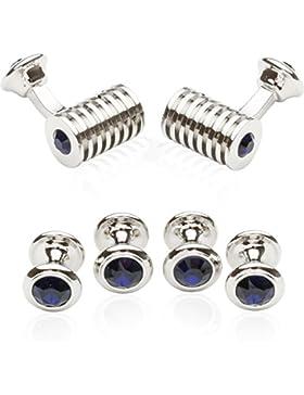 Silber und Blau Swarovski Manschettenknöpfe von Cuff-Daddy