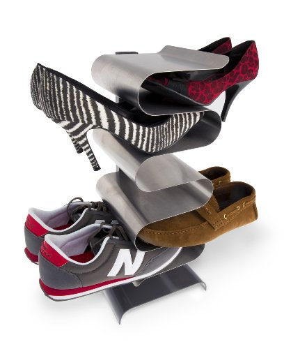 Schuh-rack (Unbekannt j-me JM2003FS freistehendes Schuhregal für 6 Paar Schuhe, Nest Shoe Rack, Edelstahl, 45,6 x 21,3 x 20 cm)