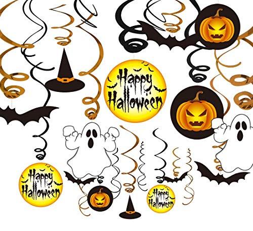 VSTON Halloween Dekoration zum Aufhängen, Wirbel, Party-Set mit Kürbis-Geist, Happy Halloween Swirls 30 Packungen