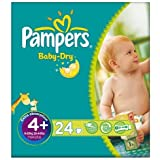 Pampers Baby Dry taille 4 + (9-20kg) Carry 6x24 pack Maxi Plus par paquet