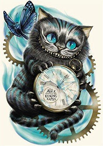 YEESAM ART New Diamond Gemälde Full Bohrer 5D Kits–Schwarz Cat Uhr Schmetterling 30* 40cm–DIY Kristall Diamant Strass Gemälde eingefügt Malen Nach Zahlen Kits...