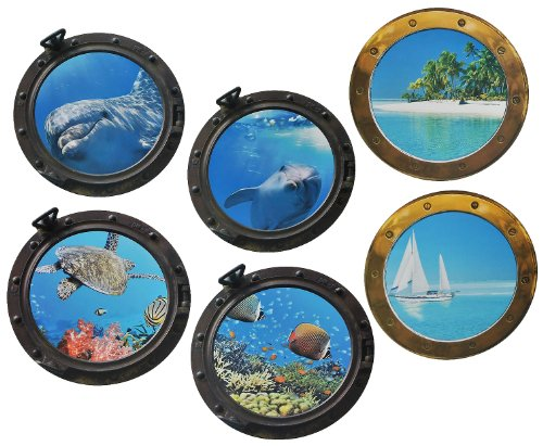 Preisvergleich Produktbild 6 tlg. XL Set: Wandtattoo / Sticker - Bullauge - Fenster Schiff - Delfin Schildkröten Delphin Fisch - Wandsticker Aufkleber Flugzeug Wandaufkleber Badezimmer Fische
