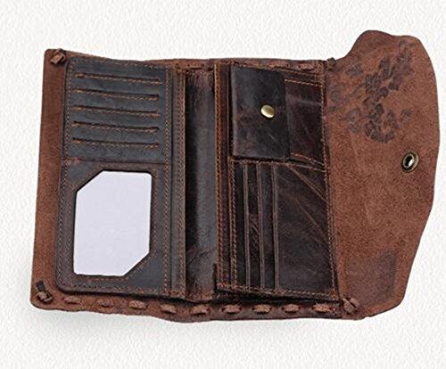 MeiliYH Portafoglio personalizzato Handmade in pelle Retro borsa in pelle personalizzata marrone