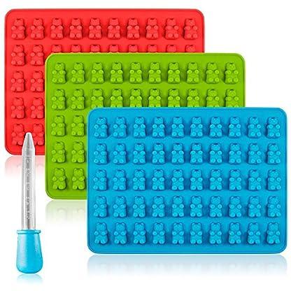 Senhai Caramelo de Silicona Moldes & Ice Cube bandejas, 3 Pack Pastilla de Goma Jelly moldes, moldes de Chocolate, jabón Moldes – Oso