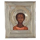 Alte russische Ikone Christus Immanuel 1874 mit Silber