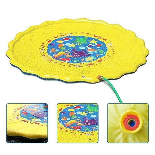 EODUDO-S Outdoor-Wasserspiel-Sprinkler Sommerspaß Hinterhofspiel für Kleinkinder Kleinkinder und Kinder in verschiedenen Größen Kinderspritzspielmatte, Weitere Stile (Farbe : Gelb, Größe : 100cm)
