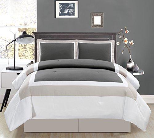 4Stück Queen Size Dark Grau/Light Grau/Weiß Color Block Milan Gänsedaunen Alternative Tröster Set 228,6x 228,6cm Betten (Set Grau Tröster Weiß König Und)