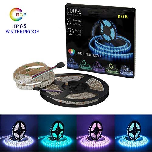 Uhomely LED Strip, 5M/16.4FT IP65 Wasserdicht LED Lichter, 12V 5A RGB SMD5050 LED Streifen, LED Seil Beleuchtet Multi Farbiges für Garten, Decke, Küche, Bett, Auto, Drinnen & Außen Dekoration -