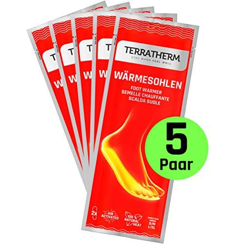TerraTherm Wärmesohlen für Schuhe - 5 Paar M Sohlenwärmer, 100{d0644954df95e73c74879b8761750dd608f66a1601c3abca97dc557b3420f54d} natürliche Wärme, Fußwärmer Sohlen als auch Wärmeeinlagen für Schuhe, für 8h warme Füße, Schuhwärmer Einlagen M