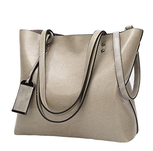 Damen-Mode Retro-Öl-Haut Große Kapazität Schultertasche Handtasche Kuriertasche Einfache Atmosphäre Blue