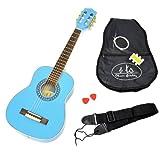 1/4 Kindergitarre für 4 - 7 Jahre Akustik Klassik Gitarre Hellblau mit Zubehörset: gepolsterte Gitarrentasche